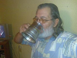 Dennis with beer mug