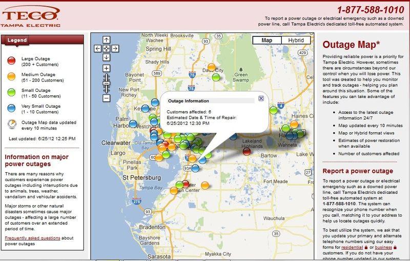 TECO outage map