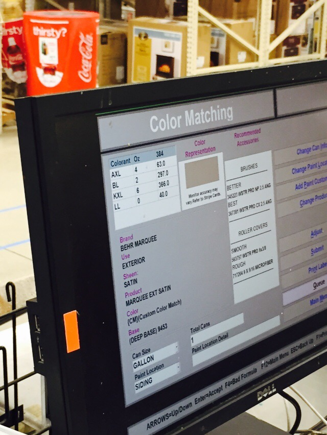 Home Depot paint matching
