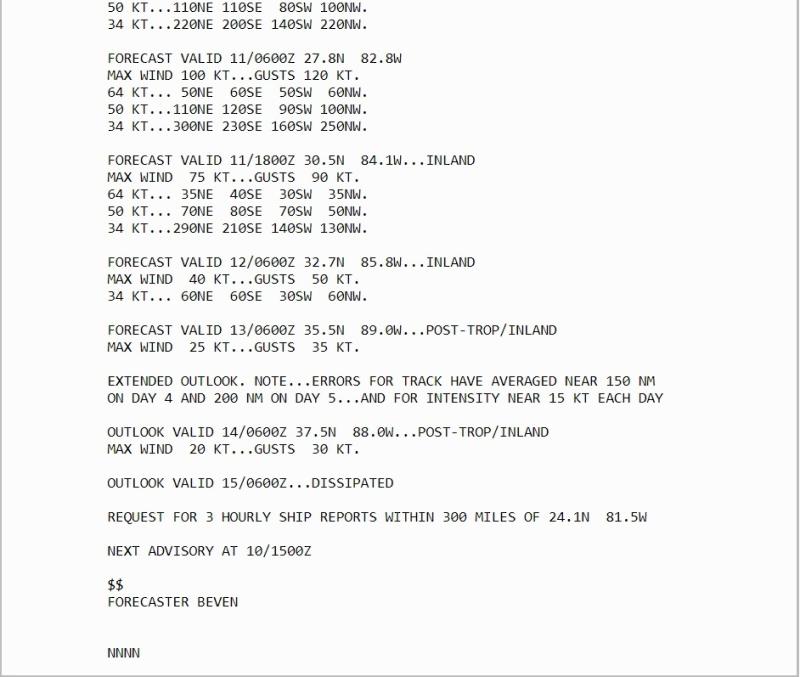 NHC Beven forecaast