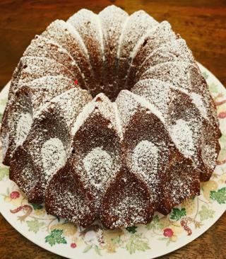 Erica German pound cake with powdered sugar